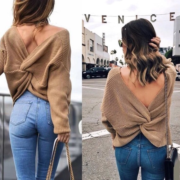d26a68324e8b3b Tan V Neck Twisted Knot Back Sweater Camel   363